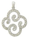 Four abstract curling ribbons press together to form a flower figure on this 14K white gold pendant