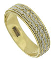 Layers of engraving cover the surface of this handsome 14K bi-color mens wedding band