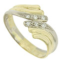 A trio of curling vines sprouts from the sides of this estate wedding band and curls together to form a wide face