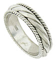Tightly spiraling edges frame a more freeform spiral at the center of this 14K white gold modern men's wedding band