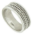 Layers of braided white gold twist across the surface of this handsome 14K white gold wedding band