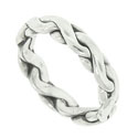 A smooth braid of 14K white gold wraps around the circumference of this 14K handmade mens modern wedding band