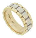 This handsome 14K bi-color mens wedding band features an undulating ribbon of white gold pressed into a yellow gold band
