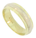 This handsome 14K bi-color wedding band features a white gold rounded center band framed in broad ribbons of yellow gold