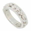 A vine and grape motif spans 3/4 of the circumference of this 14K white gold antique style wedding band
