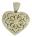 This spectacular antique style locket is adorned with a whimsical cutwork flower