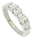 This handsome estate wedding band is fashioned of 14K white gold and set with alternating rows of baguette and square cut diamonds