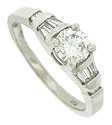 This distinctive platinum engagement ring is set with an EGL certified, .62 carat, E color, Vs2 clarity round cut diamond