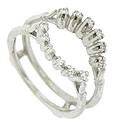 Dazzling round cut diamonds are set into face of this vintage 14K white gold engagement ring bracket