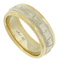 This classic 14K bi-color mens' wedding band features a center band of white gold framed in rounded, smoothly polished yellow gold