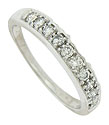 A string of brilliant, fine faceted diamonds are set into the face of this 14K white gold wedding band