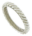 A brightly polished rope of 14K white gold twists across the surface of this antique style wedding band