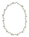 Interlocking links of diamond frosted vines and pearl posies with diamond faces connect to form this romantic antique style necklace