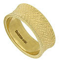 Intricate cross hatching covers the surface of this wide antique style wedding band