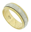 Sputnik blooms interrupted by abstract berries spin across the surface of this 14K bi-color wedding band