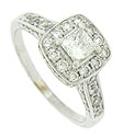 This breathtaking antique style engagement ring features a stunning .45 carat, G color, Si1 clarity, square cut center stone