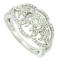 Diamond frosted floral inspired vines twist around a trio of dazzling round cut diamonds on the surface of this antique style engagement ring