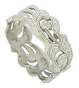 This romantic antique platinum wedding band features an ornate organic cutwork and engraving