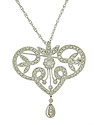 Diamond frosted organic cutwork curls and spins together to form this magnificent antique style necklace