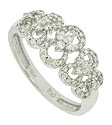 Elegant open cutwork frosted with diamonds stretches across the face of this fantastic antique style wedding band