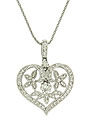 This heart shaped 14K white gold pendant is covered in diamonds