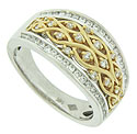 This distinctive 14K bi-color wedding band features a diamond frosted yellow gold honeycomb at its center