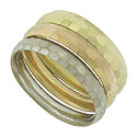 A trio of yellow, red and white 14K gold bands form this wonderful set of stackable wedding rings