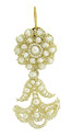 Elaborately woven natural seed pearls strung with horsehair form this fantastic antique pendant