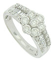 Six fantastic round cut diamonds spin in a floral pattern on the face of this elegant engagement ring