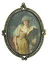 This antique portrait pin features a magnificent painting on mother of pearl