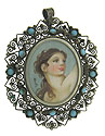 Done in profile, this elegant portrait pin features a strong female in motion, rosy cheeked and vital