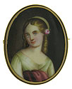 This flaxen haired beauty is painted on porcelain and framed in an elegant gold filled frame