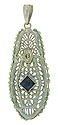 This lacy filigree pendant features a square cut sapphire set on edge and a single fine faceted diamond