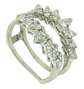Round cut diamonds (twenty-eight in total) form sparkling rays of light on this vintage 14K white gold engagement ring bracket