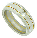 This thick platinum wedding band is simply adorned by two rings of 14K yellow gold and set with a single brilliant square cut diamond