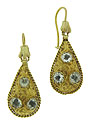These remarkable Edwardian earrings are fashioned of 10K yellow gold and finished with 14K wires