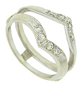Round cut diamonds (eight in total) form sparkling ribbons of light on this vintage 14K white gold engagement ring bracket