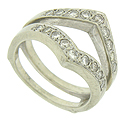 Round cut diamonds (eighteen in total) form sparkling ribbons of light on this vintage 14K white gold engagement ring bracket