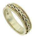 A thick braid of yellow gold twists around the center of this handcrafted 14K bi-color mens wedding band