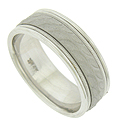 This handsome 14K white gold wedding band features a satin finished band impressed with leaves