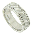 A bold repeating brush stroke paints the center band of this handcrafted 14K white gold mens wedding band