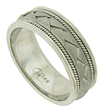 A folded braid of sanded white gold presses into the surface of this handsome mens wedding band