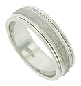 A sanded, hammered central surface, framed by impressed milgrain adorns the face of this handsome 14K white gold mens wedding band