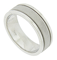 This handsome 14K white gold mens wedding band features a surface of sanded white gold flanked by deep ridges and smoothly polished edges