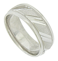 A brightly etched triple slash repeats across the satin finished central band of this handcrafted 14K white gold mens wedding band