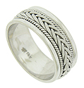 This handcrafted 14K white gold modern mens wedding band features a central braid framed on either side by slim twisting ropes
