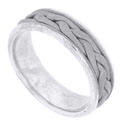 A 14K white gold braid twists around the center of this handcrafted modern mens wedding ring