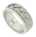 Wide sanded ribbons of 14K white gold press into the surface of this handsome mens wedding band