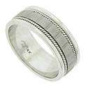 Vertical lines press into a sanded band on this 14K white gold mens wedding band