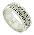 This handmade 14K white gold mens modern wedding band features a rugged rope design